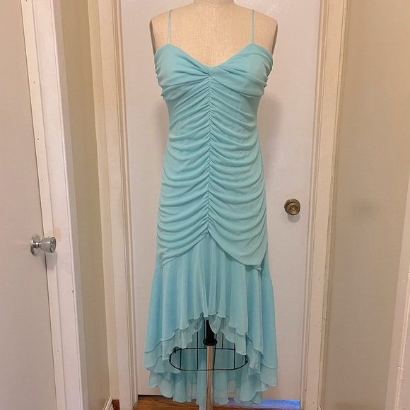 Ruched Chiffon High-Low Sweetheart-Neckline Dress